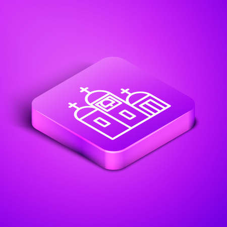 Isometric line Church building icon isolated on purple background. Christian Church. Religion of church. Purple square button. Vector Illustration