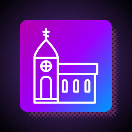 White line Church building icon isolated on black background. Christian Church. Religion of church. Square color button. Vector Illustration