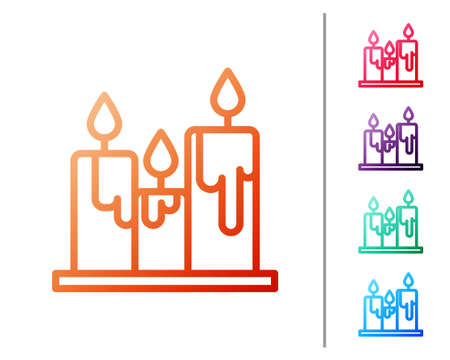 Red line Burning candles icon isolated on white background. Cylindrical candle stick with burning flame. Set color icons. Vector Illustration
