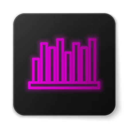 Glowing neon line Pie chart infographic icon isolated on white background. Diagram chart sign. Black square button. Vector Illustration