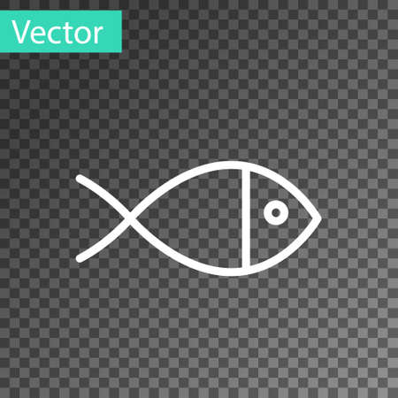 White line Christian fish symbol icon isolated on transparent background. Jesus fish symbol. Vector Illustration
