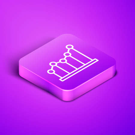 Isometric line Pie chart infographic icon isolated on purple background. Diagram chart sign. Purple square button. Vector Illustration Vectores