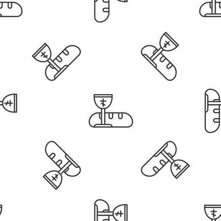 Grey line First communion symbols for a nice invitation icon isolated seamless pattern on white background. Vector Illustration