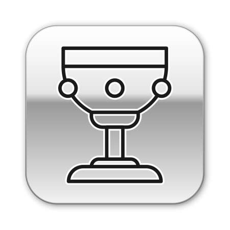 Black line Christian chalice icon isolated on white background. Christianity icon. Happy Easter. Silver square button. Vector Illustration