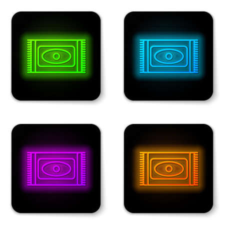 Glowing neon line Traditional carpet culture ramadan arabic islamic celebration icon isolated on white background. Black square button. Vector Illustration Vectores