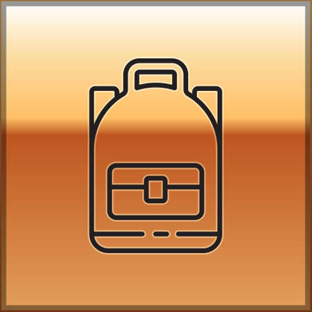 Black line Hiking backpack icon isolated on gold background. Camping and mountain exploring backpack. Vector Illustration
