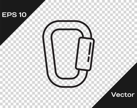 Black line Carabiner icon isolated on transparent background. Extreme sport. Sport equipment. Vector Illustration Illusztráció