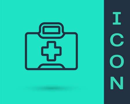 Black line First aid kit icon isolated on green background. Medical box with cross. Medical equipment for emergency. Healthcare concept. Vector Illustration Ilustracja