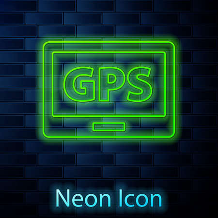 Glowing neon line Gps device with map icon isolated on brick wall background. Vector Illustration