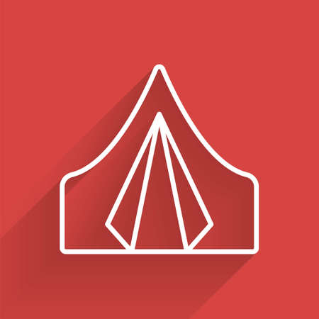 White line Tourist tent icon isolated with long shadow. Camping symbol. Vector Illustration