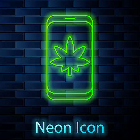 Glowing neon line Mobile phone and medical marijuana or cannabis leaf icon isolated on brick wall background. Online buying symbol. Supermarket basket. Vector Illustration