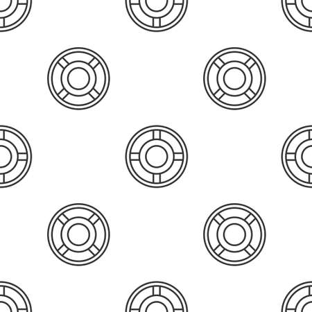 Grey line Ashtray icon isolated seamless pattern on white background. Vector Illustration