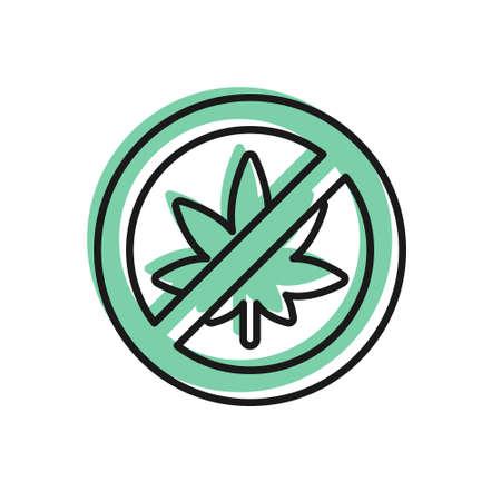 Black line Stop marijuana or cannabis leaf icon isolated on white background. No smoking marijuana. Hemp symbol. Vector Illustration Ilustração