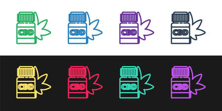 Set line Medical bottle with marijuana or cannabis leaf icon isolated on black and white background. Mock up of cannabis oil extracts in jars. Vector Illustration