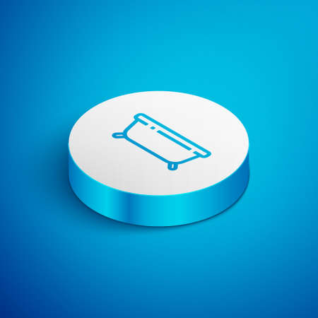 Isometric line Bathtub icon isolated on blue background. White circle button. Vector Illustration