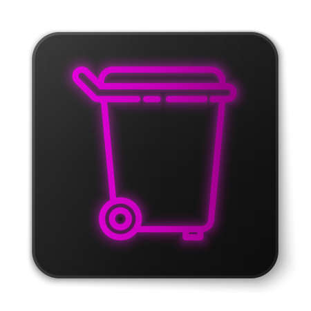 Glowing neon line Trash can icon isolated on white background. Garbage bin sign. Recycle basket icon. Office trash icon. Black square button. Vector Illustration