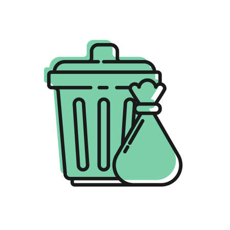 Black line Trash can and garbage bag icon isolated on white background. Garbage bin sign. Recycle basket icon. Office trash icon. Vector Illustration