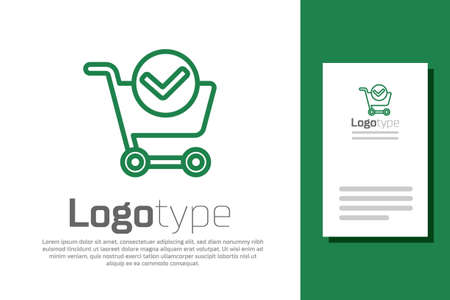 Green line Shopping cart with check mark icon isolated on white background. Supermarket basket with approved, confirm, tick, completed.