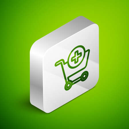 Isometric line Add to Shopping cart icon isolated on green background. Online buying concept. Delivery service sign. Supermarket basket symbol. Silver square button. Vector Illustration