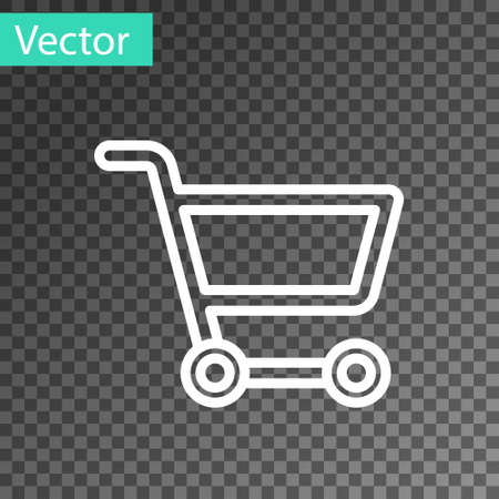 White line Shopping cart icon isolated on transparent background. Online buying concept. Delivery service sign. Supermarket basket symbol. Vector Illustration Illustration