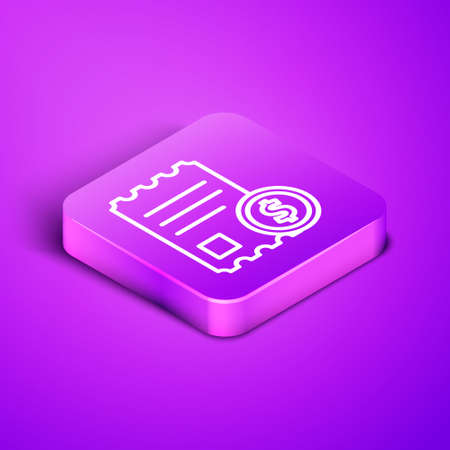 Isometric line Paper check and financial check icon isolated on purple background. Paper print check, shop receipt or bill. Purple square button. Vector Illustration