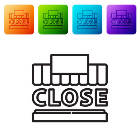 Black line Shopping building or market store and text closed icon isolated on white background. Shop construction. Set icons in color square buttons. Vector Illustration