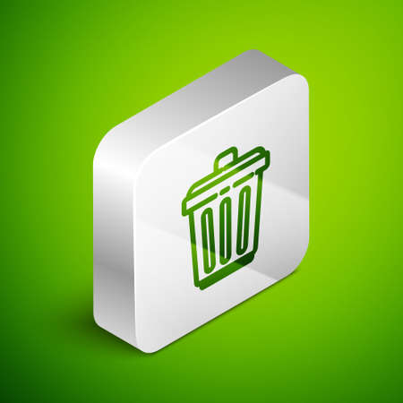 Isometric line Trash can icon isolated on green background. Garbage bin sign. Recycle basket icon. Office trash icon. Silver square button. Vector Illustration