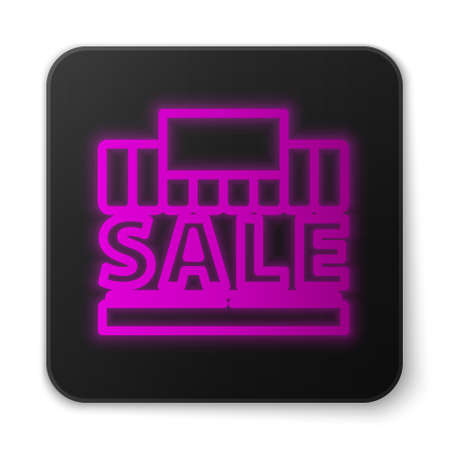 Glowing neon line Shopping building or market store icon isolated on white background. Supermarket sale concept. Black square button. Vector Illustration