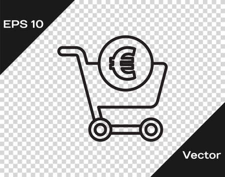 Black line Shopping cart and euro symbol icon isolated on transparent background. Online buying concept. Delivery service. Shopping cart. Vector Illustration Illustration