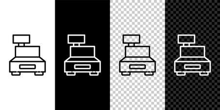 Set line Cash register machine with a check icon isolated on black and white background. Cashier sign. Cashbox symbol. Vector Illustration