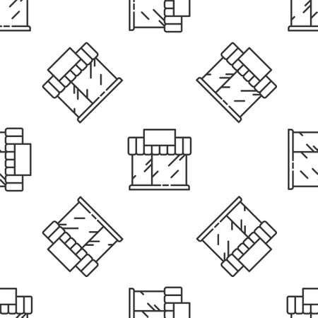 Grey line Shopping building or market store icon isolated seamless pattern on white background. Shop construction. Vector Illustration Stock Illustratie