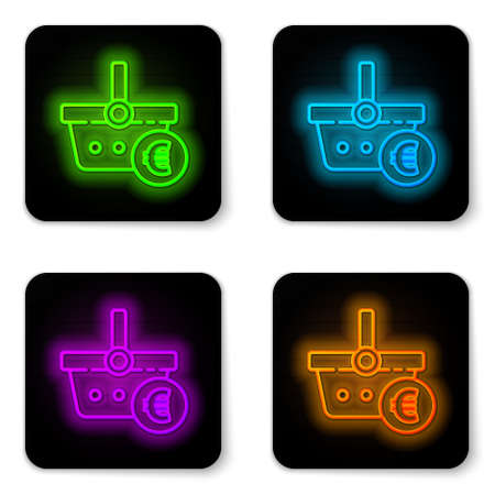 Glowing neon line Shopping basket and euro symbol icon isolated on white background. Online buying concept. Delivery service. Shopping cart. Black square button. Vector Illustration