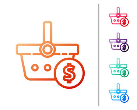 Red line Shopping basket and dollar symbol icon isolated on white background. Online buying concept. Delivery service. Shopping cart. Set color icons. Vector Illustration Illustration
