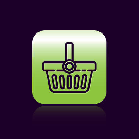 Black line Shopping basket icon isolated on black background. Online buying concept. Delivery service sign. Shopping cart symbol. Green square button. Vector Illustration