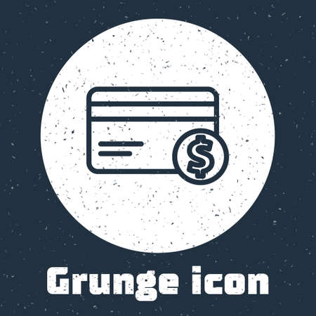 Grunge line Credit card and dollar symbol icon isolated on grey background. Online payment. Cash withdrawal. Financial operations. Monochrome vintage drawing. Vector Illustration Vectores