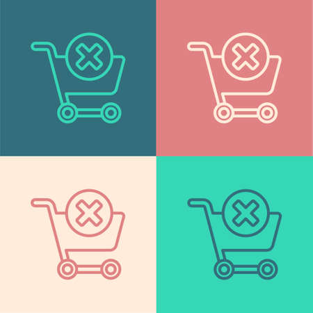 Pop art line Remove shopping cart icon isolated on color background. Online buying concept. Delivery service. Supermarket basket and X mark. Vector Illustration Illustration