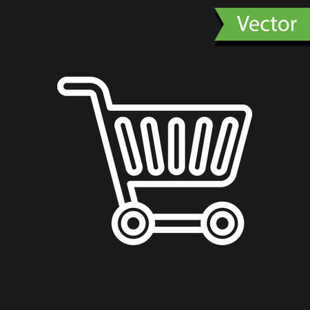 White line Shopping cart icon isolated on black background. Online buying concept. Delivery service sign. Supermarket basket symbol. Vector Illustration
