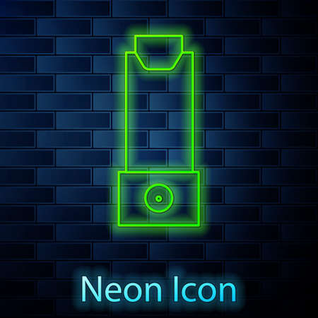Glowing neon line Inhaler icon isolated on brick wall background. Breather for cough relief, inhalation, allergic patient. Vector Illustration Illusztráció
