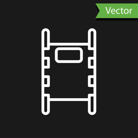 White line Stretcher icon isolated on black background. Patient hospital medical stretcher. Vector Illustration