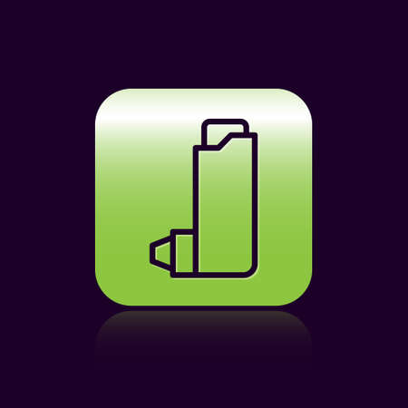 Black line Inhaler icon isolated on black background. Breather for cough relief, inhalation, allergic patient. Green square button. Vector Illustration Illusztráció