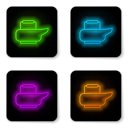 Glowing neon line Bedpan icon isolated on white background. Toilet for bedridden patients. Black square button. Vector Illustration 矢量图像