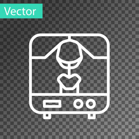 White line X-ray machine icon isolated on transparent background. Vector Illustration