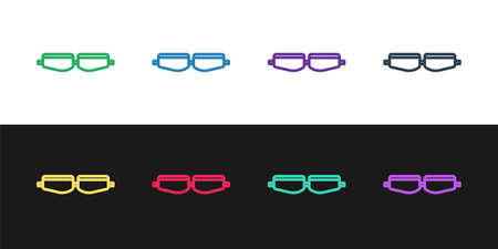 Set line Safety goggle glasses icon isolated on black and white background. Vector Illustration Çizim