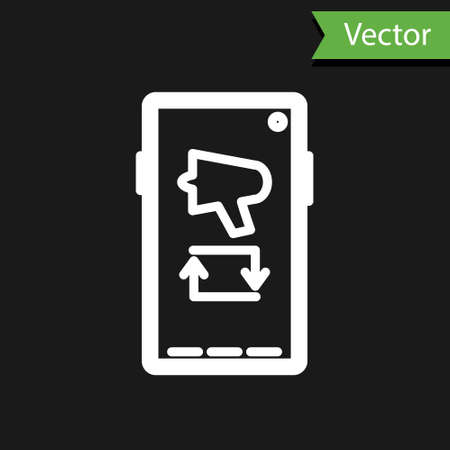 White line Spread the word, megaphone on mobile phone icon isolated on black background. Vector Illustration