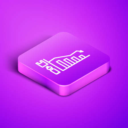 Isometric line Ecology infographic icon isolated on purple background. Purple square button. Vector Illustration