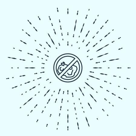 Black line No trash icon isolated on grey background. Abstract circle random dots. Vector Illustration Ilustracja