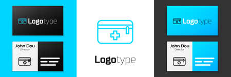 Grey line First aid kit icon isolated on white background. Medical box with cross. Medical equipment for emergency. Healthcare concept. Vector Illustration Ilustracja