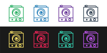 Set line Electric stove icon isolated on black and white background. Cooktop sign. Hob with four circle burners. Vector Illustration