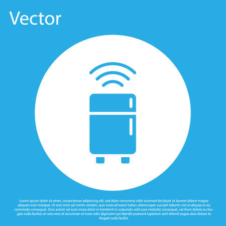Blue Smart refrigerator icon isolated on blue background. Fridge freezer refrigerator. Internet of things concept with wireless connection. White circle button. Vector