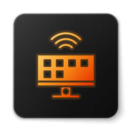 Orange glowing neon Smart Tv system icon isolated on white background. Television sign. Internet of things concept with wireless connection. Black square button. Vector Banque d'images - 152564925
